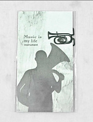1PC Creative Musical Instrument Series Iron Bookmark / Metal Bookmark+Message Card(Style random)
