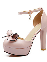 Women's Shoes Leatherette Summer Heels Casual Chunky Heel Bowknot / Hollow-out Pink / White / Beige