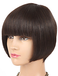 "8"" BOB Short Style Brazilian Virgin Human Hair Capless Machine Made Wigs"
