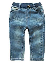 Katoen-Lente-Girl's-Jeans-Bruin / Beige