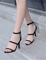 Zapatos de mujer-Tacón Stiletto-Tacones-Sandalias-Oficina y Trabajo / Vestido / Fiesta y Noche-Terciopelo-Negro / Rojo