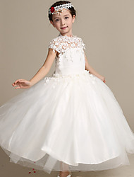 Ball Gown Ankle-length Flower Girl Dress - Lace / Satin / Tulle Short Sleeve High Neck with