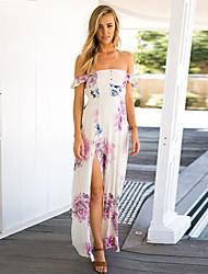 Women's Boho Floral Sheath Dress,Strapless Asymmetrical Polyester