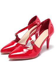 Feminino-Sandálias-Conforto Tira no Tornozelo-Salto Agulha-Preto Vermelho Amêndoa-Couro Envernizado-Casamento Escritório & Trabalho