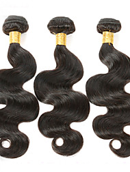 "3Pcs/Lot 150g 8""-26"" Unprocessed Brazilian Virgin Hair Natural Black Color Body Wave Human Hair Weave"