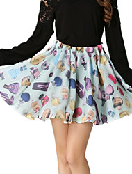 Spring Women's Organza Printing Floral Casual Holiday Cake Mini Skirt Party Cocktail OL Work Skirts