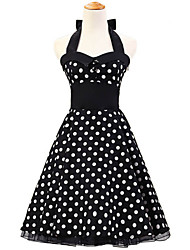 50s Era Vintage Style Halterneck Buttons Rockabilly Dress Cosplay Costume Black White Polka Dot (with Petticoat)