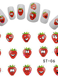 5pcs Nail Art 2016 Cute Express Smiles Strawberry Fruit Designs Decals Nail Art Stickers Watermark Tattoos on Tips Nails