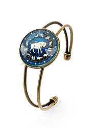 Lureme® Time Gem The Zodiac Series Taurus Disc Cuff Bangle Bracelet for Women and Girl