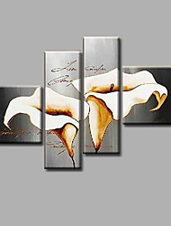 "Ready to Hang Stretched Hand-painted Oil Painting 64""x44"" Canvas Wall Art Modern Flowers Grey White Lily"
