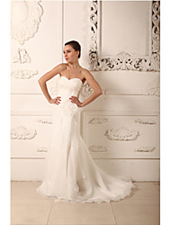 Sheath / Column Wedding Dress Court Train Sweetheart Organza / Satin with Criss-Cross / Flower / Ruche