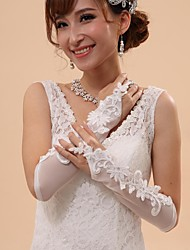 Elbow Length Fingerless Glove Tulle Bridal Gloves Party/ Evening Gloves Spring Summer Fall Winter Beading Embroidery lace