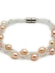 A Level 5-6mm Freshwater  Pearl Beads Magnet Buckle Bracelet for Lady