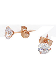 HKTC 18k Rose Gold Plated 3 Prong Ear Pin 1ct Simulated Diamond Wedding Studs EarringsImitation Diamond Birthstone