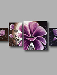 "Ready to Hang Stretched Hand-painted Oil Painting 56""x28"" Canvas Wall Art Modern Flowers Brown Purple Rose"