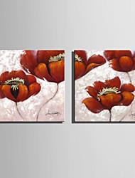 mini-formaat e-home olieverf moderne rode bloemen in volle bloei pure de hand te tekenen frameloze decoratieve schilderkunst