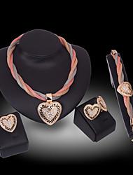 Lucky Doll Diamond 18K Gold Plated Rhinestone Tassel Necklace & Earrings & Bracelet & Ring Party Jewelry Sets
