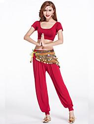 Dança do Ventre Roupa Mulheres Treino Modal Pano 2 Peças Manga Curta Natural Calças / Top S: 31cm/ M: 32cm/ L: 33cm/ XL: 34cm