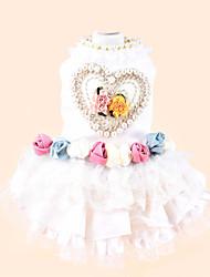 Dog Dress White Winter / Summer / Spring/Fall Pearl / Floral / Botanical Wedding / Fashion