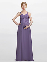 Floor-length Chiffon Bridesmaid Dress - Sheath / Column Spaghetti Straps with Criss Cross