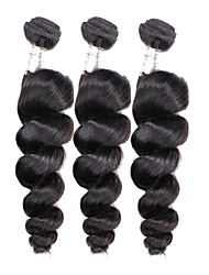 Mix Size 3Pcs/Lot 8-26inch Brazilian Virgin Hair Loose Wave Black Color Raw Human Hair Weaves Wholesales.