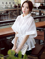 Women's Holiday Simple Summer Shirt,Solid Crew Neck Short Sleeve White Polyester / Spandex Sheer