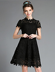AOFULI Vintage Plus Size Women Elegant Sexy Vintage Lace Hollow Embroidery Short Sleeve Knee Length Dress