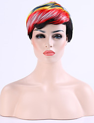 Popular Capless  Colorful Hair  8 inches  Short  Curly  Wig Suit  for Party