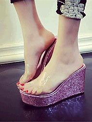 Women's Shoes Leatherette Wedge Heel Wedges Sandals / Slippers Outdoor / Casual Pink / Silver / Gold