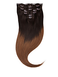 """neitsi® 20 """"7pcs ensemble 100% de clip réel remy dans les extensions de cheveux humains ombre vierge cheveux raides clou"""