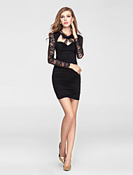 Cocktail Party Dress-Black Sheath/Column V-neck Short/Mini Lace / Stretch Satin