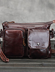 Men Cowhide Shopper Shoulder Bag / Coin Purse / Sports & Leisure Bag / School Bag / Travel Bag - Brown