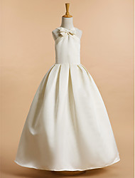 A-line Ankle-length Flower Girl Dress - Satin Sleeveless V-neck with Bow(s)