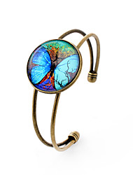 Lureme® Simple Jewelry Time Gem Series Fluorescent Big Butterfly Disc Charm Open Bangle Bracelet for Women and Girl