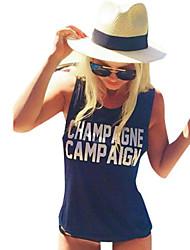 Mulheres Malha Íntima Casual Simples / Moda de Rua Verão,Estampado Branco / Preto / Cinza Poliéster Decote Redondo Sem Manga Média