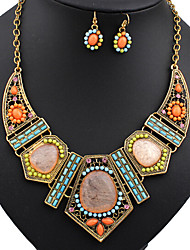 Women's Jewelry Set Statement Necklaces Dangle Earrings Turquoise Colorful European Vintage Festival/Holiday Costume Jewelry Resin