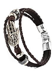 Armbänder Lederarmbänder Aleación / Leder Die Hand von Fatima Hochzeit / Alltag / Normal Schmuck Geschenk Schwarz / Silber / Braun,1 Stück
