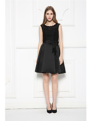 Short/Mini Lace / Satin Bridesmaid Dress-Black A-line Scoop
