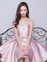 Knee-length Satin Bridesmaid Dress-Blushing Pink Ball Gown Sweetheart