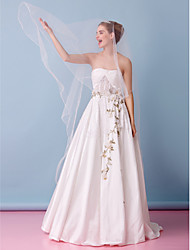 Lanting Bride A-line Wedding Dress-Court Train Strapless Lace / Taffeta