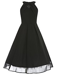 Women's Plus Size Sexy / Vintage Swing Dress,Solid Round Neck Knee-length Sleeveless Black Cotton Fall
