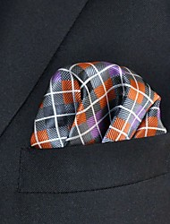 Men's Pocket Square Orange Checked 100% Silk Wedding Business