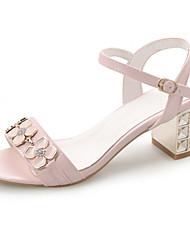 Zapatos de mujer-Tacón Robusto-Tacones-Sandalias-Boda / Vestido / Casual / Fiesta y Noche-Semicuero-Azul / Rosa / Blanco
