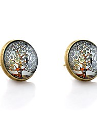 Lureme® Vintage Jewelry Time Gem Series Notes Tree Antique Bronze Disc Stud Earrings for Women and Girls