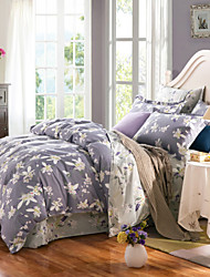 White flowers 100% Cotton Bedclothes 4pcs Bedding Set Queen Size Duvet Cover Set
