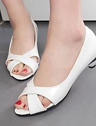 Women's Shoes Heel Heels / Peep Toe Sandals / Heels Outdoor / Dress / Casual Black / Blue / Pink / White/9-3