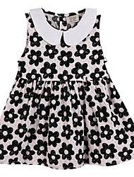 Girl's Black / Pink Dress Cotton Summer / Spring