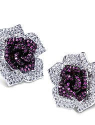 Earring Stud Earrings Jewelry Women Brass / Sterling Silver / Cubic Zirconia 2pcs White