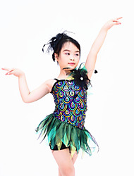 MiDee Dresses Women's Children's Performance Spandex Organza Sequined Ruffles Sequins Sleeveless Natural