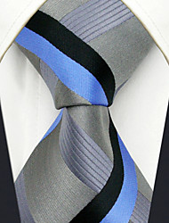Men's Tie Gray Stripes Fashion 100% Silk  Business